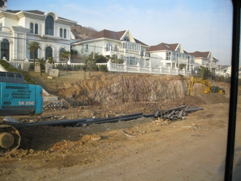 New coastal villas await the installation of utilities