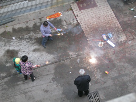 Family fun with fireworks directly below my hotel window in Haikou.