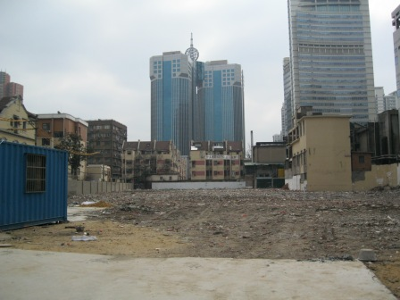 Lot where apartment buildings have already been demolished.