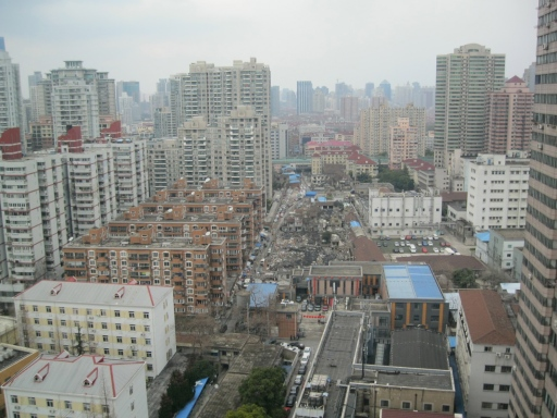 View of Changning District from the window next to the elevator bank on my floor.
