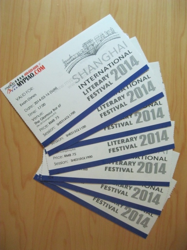 A week's worth of Litfest tickets (almost—I seem to be missing a couple).