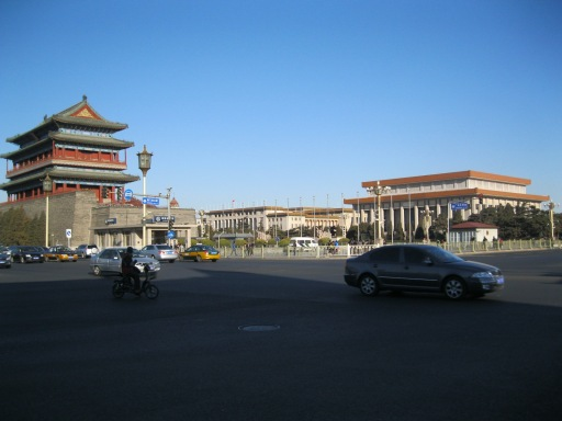 Qianmen, Tiananmen Square, and Mao's Mausoleum on a perfect blue-sky day in Beijing