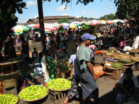 Big market at one of the longer station stops; many passengers hopped off the train and quickly bought some produce before we left again.