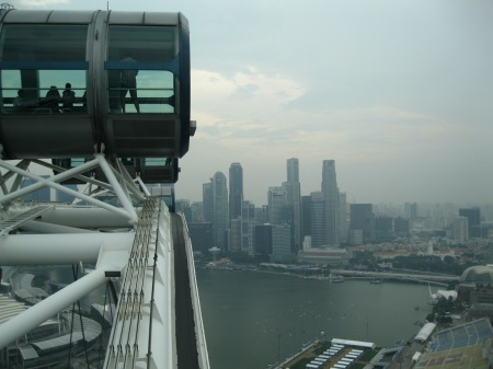 Approaching the high point of the Singapore Flyer