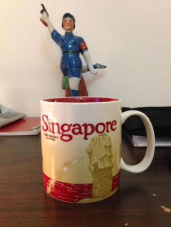 Singapore souvenir holding my coffee this morning