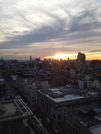 Sunset in New York, as seen from my office window last Tuesday.