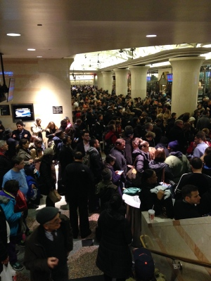New Jersey Transit waiting room in Penn Station on the afternoon before Thanksgiving.