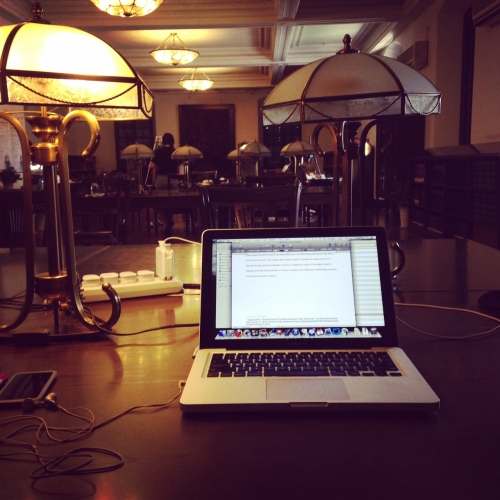 In the reading room at Shanghai's Bibliotheca Zikawei, on the afternoon I finished and submitted my dissertation.