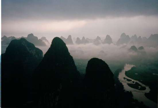 The countryside around Yangshuo, seen from a hot-air balloon